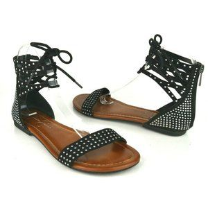 Jessica Simpson Faux Suede Studded Lace Up Sandals